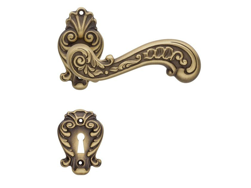 Baroque brass door handle with lock BAROCCO | Brass door handle by LINEA CALI'