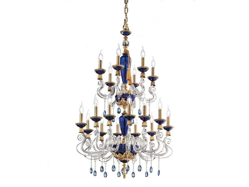 Chandelier with Swarovski® Crystals BAROCCO L12+6 by Euroluce Lampadari