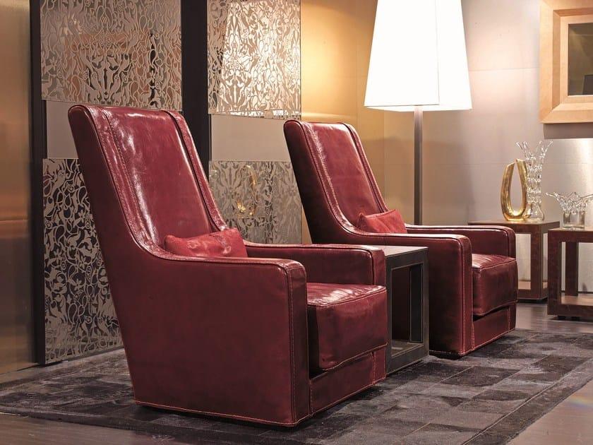 Swivel high-back armchair BARON by Longhi