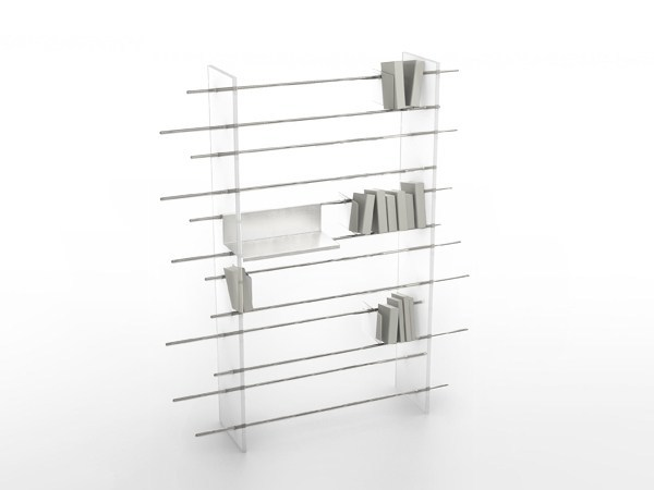 Freestanding aluminium bookcase BARRES PARALLELES by VIDAME CREATION