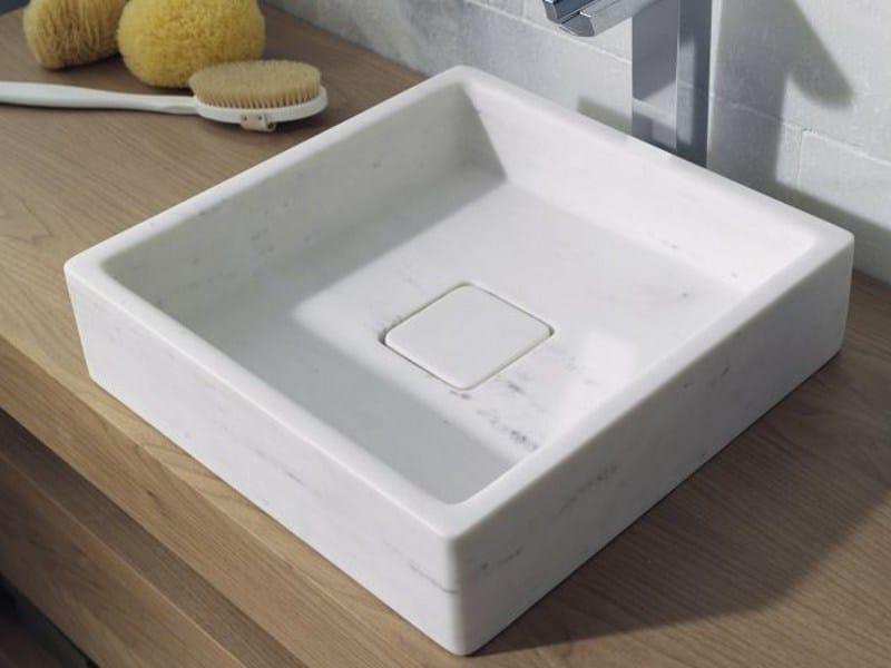 Countertop square natural stone washbasin BASIC | Countertop washbasin by L'antic Colonial