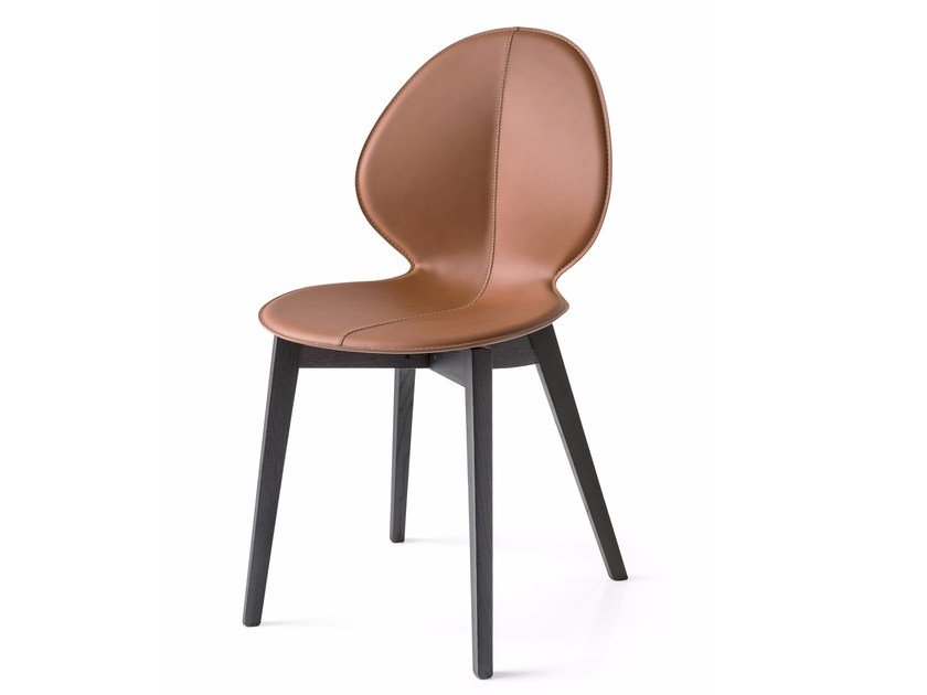 Upholstered Tanned Leather Chair Basil W By Calligaris Design