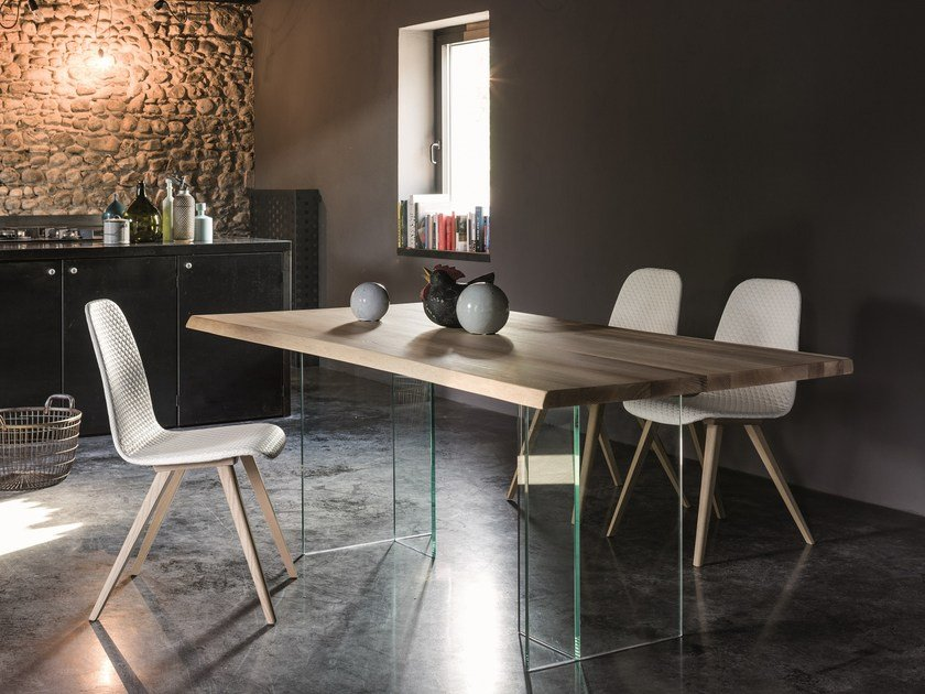 Rectangular wood and glass table BASILIO by Dall'Agnese