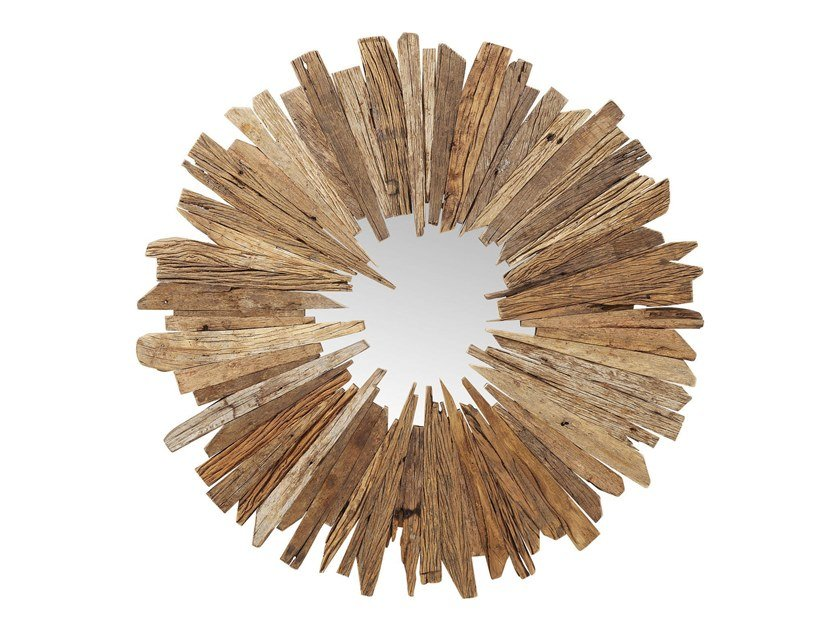 Round wall-mounted reclaimed wood mirror BASTIDON | Mirror by KARE-DESIGN