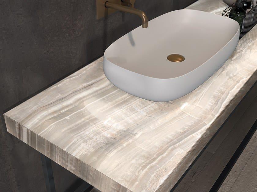 BATH DESIGN | Piano lavabo ABK BATHDESIGN 12 INTERNO9 Dark washbasin top SENSI Onice Beige Lux CROSSROAD Wood Tan