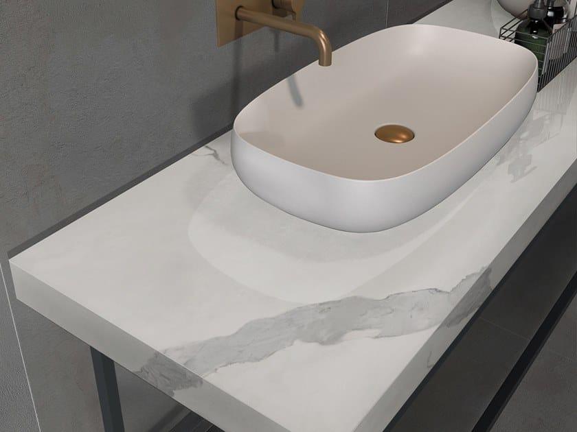 BATH DESIGN | Piano lavabo ABK BATHDESIGN 11 CROSSROAD Chalk Smoke washbasin top SENSI Statuario Apuano Lux
