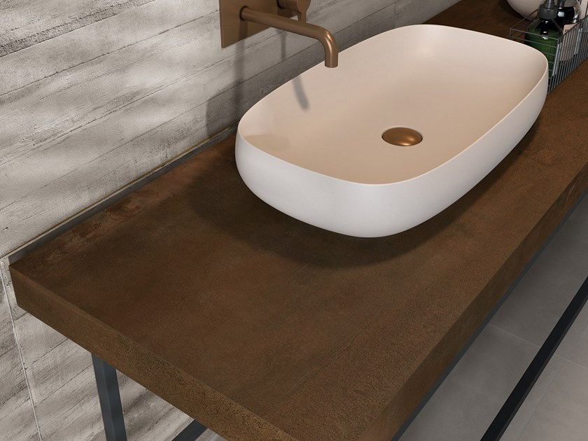 BATH DESIGN | Piano lavabo ABK BATHDESIGN 07 LAB325 Metal Ash Base Ash INTERNO9 Rust washbasin top