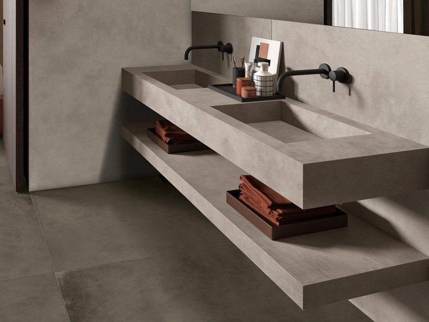 Contemporary style double rectangular porcelain stoneware washbasin with integrated countertop BATH DESIGN | Double washbasin by Ariana Ceramica