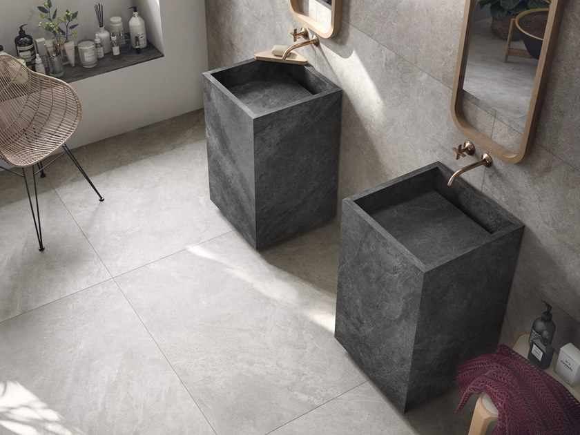 Freestanding square single porcelain stoneware washbasin BATH DESIGN | Freestanding washbasin by Ariana Ceramica