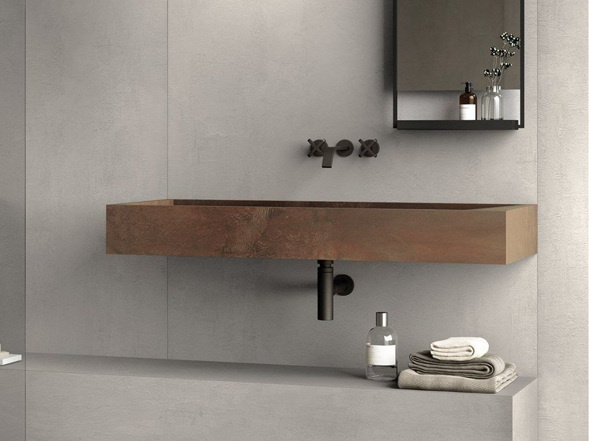 BATH DESIGN | Lavabo ABK BATHDESIGN 28 CROSSROAD Chalk Grey INTERNO9 Rust Integrated top degrade washbasin shower tray