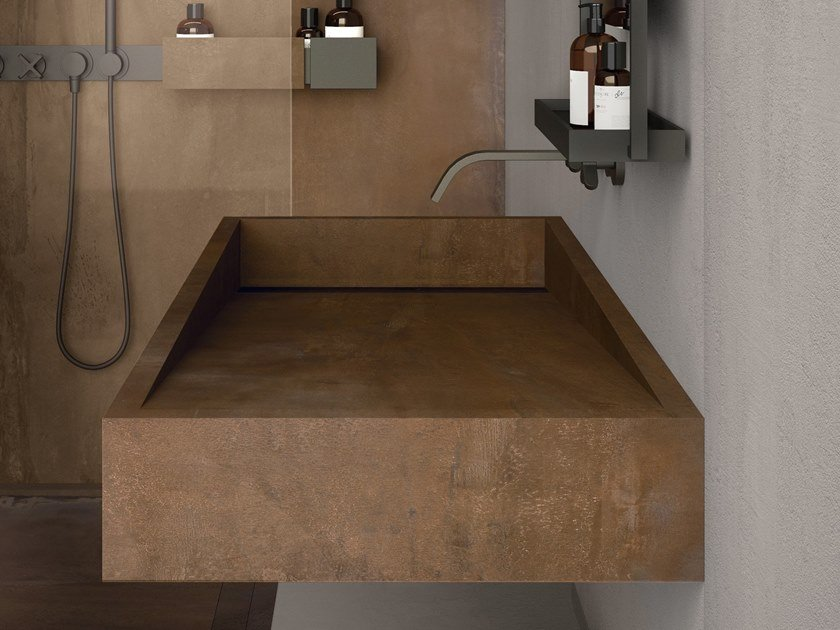 BATH DESIGN | Lavabo ABK BATHDESIGN 29 CROSSROAD Chalk Grey INTERNO9 Rust Integrated top degrade washbasin shower tray