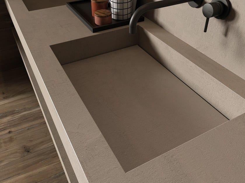 BATH DESIGN | Lavabo doppio ABK BATHDESIGN 02 CROSSROAD Chalk Sand  integrated top 2 washbasins washbasin top NEST Oak