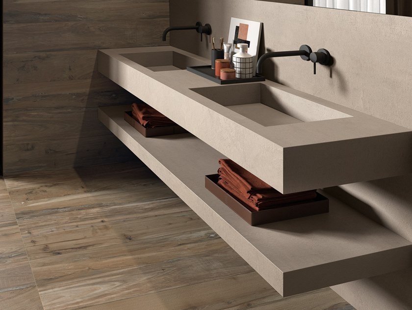 Double rectangular porcelain stoneware washbasin with integrated countertop BATH DESIGN | Double washbasin by ABK