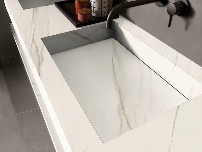 BATH DESIGN | Lavabo doppio ABK BATHDESIGN 03 LAB325 Taupe  integrated top 2 washbasins washbasin top SENSI Calacatta Gold Lux