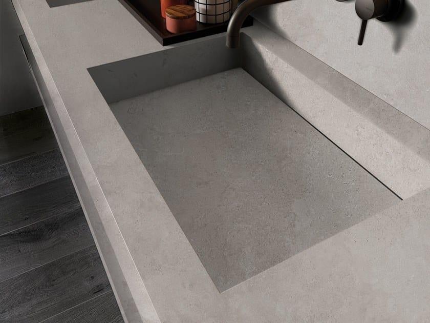BATH DESIGN | Lavabo doppio ABK BATHDESIGN 06 ALPES Grey  integrated top 2 washbasins washbasin top CROSSROAD Wood Coal