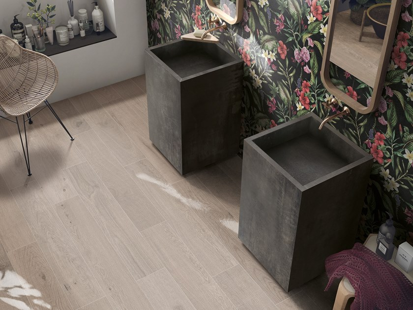 Lavabo sur pied carré en grès cérame BATH DESIGN | Lavabo sur pied by ABK