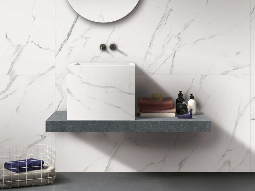BATH DESIGN | Lavabo quadrato ABK BATHDESIGN 25 SENSI Statuario Ultra Lux GENT Blue washbasin top semi pedestal washbasin