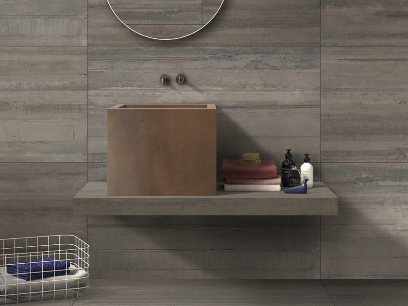 BATH DESIGN | Lavabo quadrato ABK BATHDESIGN 27 LAB325 Metal Taupe Form Taupe INTERNO9 Rust washbasin top semi pedestal washbasin