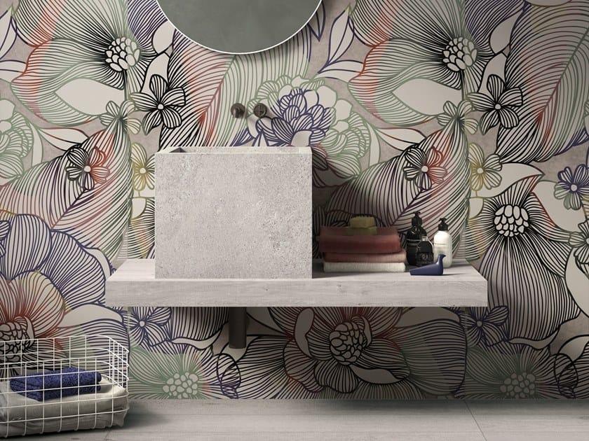 BATH DESIGN | Lavabo quadrato ABK BATHDESIGN 23 WS Sixties Dark CROSSROAD Wood Grey  ALPES Grey washbasin top semi pedestal washbasin