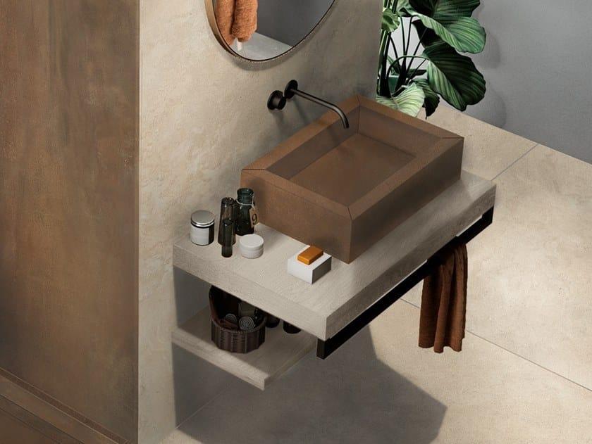 BATH DESIGN | Lavabo rettangolare ABK BATHDESIGN 34 ALPES Sand INTERNO9 Rust CROSSROAD Wood Amber surfacemounted washb  washbasin top vanity top showertray