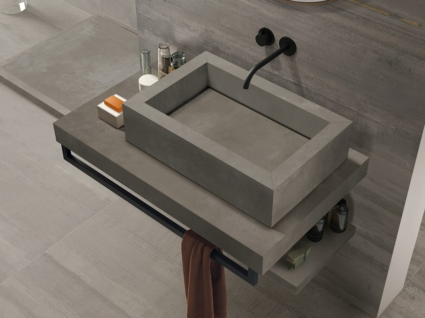 BATH DESIGN | Lavabo rettangolare ABK BATHDESIGN 32 LAB325 Metal Taupe Base Taupe Form Taupe surfacemounted washbasin  washbasin top vanity top shower tray