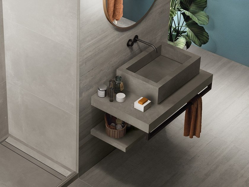 BATH DESIGN | Lavabo rettangolare ABK BATHDESIGN 31 LAB325 Metal Taupe Base Taupe Form Taupe surfacemounted washbasin  washbasin top vanity top shower tray