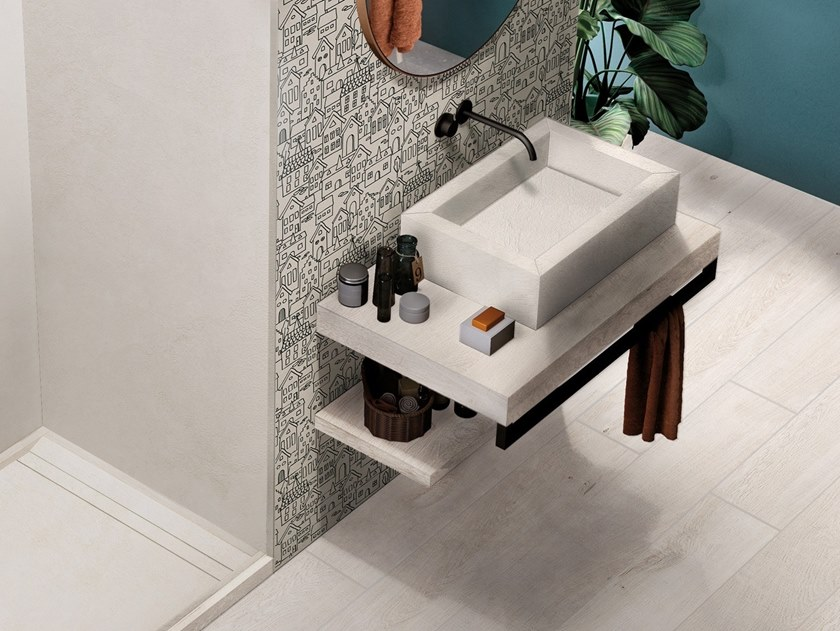 BATH DESIGN | Lavabo rettangolare ABK BATHDESIGN 33 WS Painthehouse CROSSROAD Chalk e Wood White surfacemounted washb  washbasin top vanity top shower tray