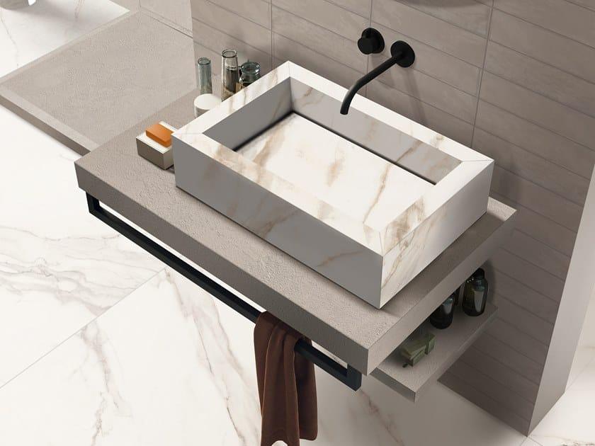 BATH DESIGN | Lavabo rettangolare ABK BATHDESIGN 35 CROSSROAD Brick Chalk Sand SENSICalacattaGoldLux surfacemounted washb  washbasintop vanitytop showertr