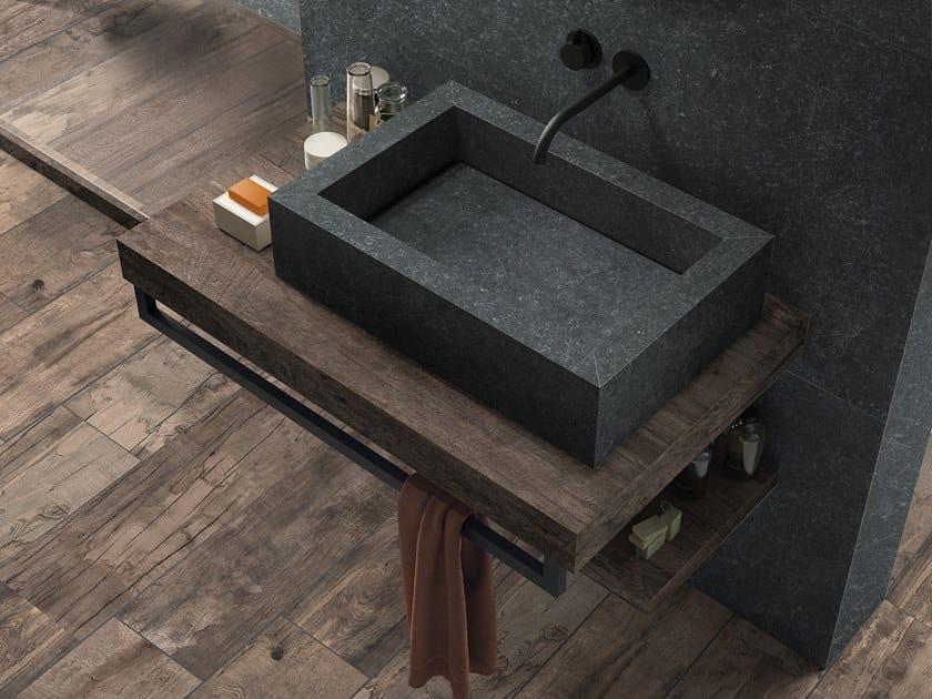 BATH DESIGN | Lavabo rettangolare ABK BATHDESIGN 36 GENT Dark DOLPHIN Oak surfacemounted washbasin  washbasin top vanity top shower tray