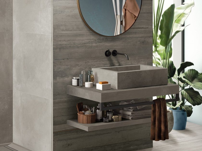 BATH DESIGN | Lavabo rettangolare ABK BATHDESIGN 30 LAB325 Metal Taupe Base Taupe Form Taupe surfacemounted washbasin  washbasin top vanity top shower tray