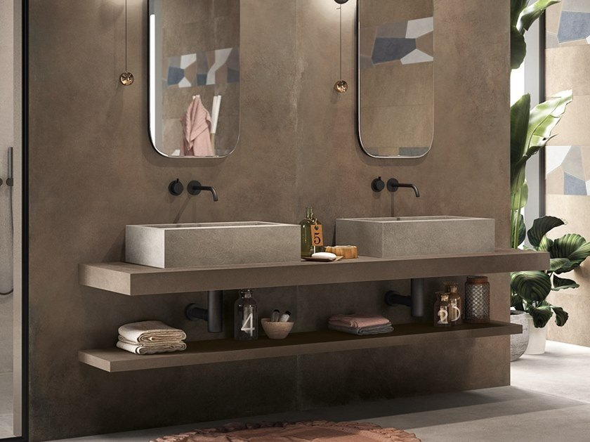 Countertop rectangular single porcelain stoneware washbasin BATH DESIGN | Rectangular washbasin by Ariana Ceramica