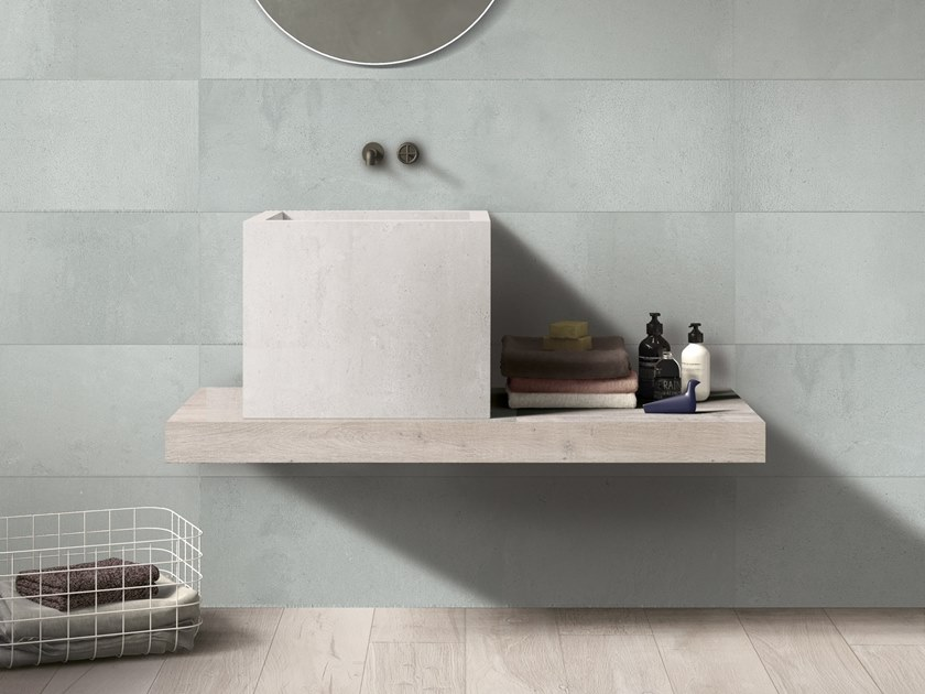Countertop square single porcelain stoneware washbasin BATH DESIGN | Square washbasin by Ariana Ceramica
