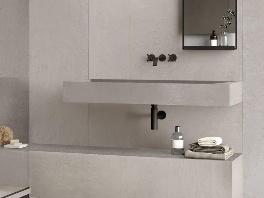 Lavabo rettangolare singolo sospeso in gres porcellanato BATH DESIGN | Lavabo sospeso by Ariana Ceramica