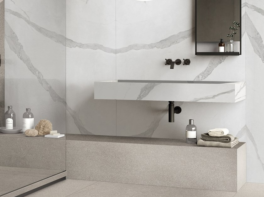 Contemporary style rectangular wall-mounted porcelain stoneware washbasin BATH DESIGN | Wall-mounted washbasin by Flaviker