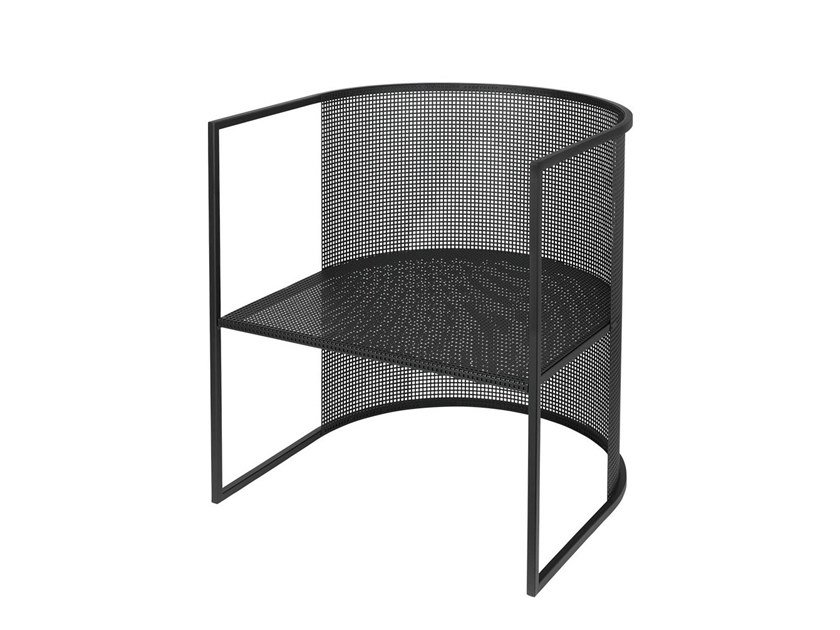 Powder coated steel easy chair with armrests BAUHAUS LOUNGE CHAIR by Kristina Dam Studio