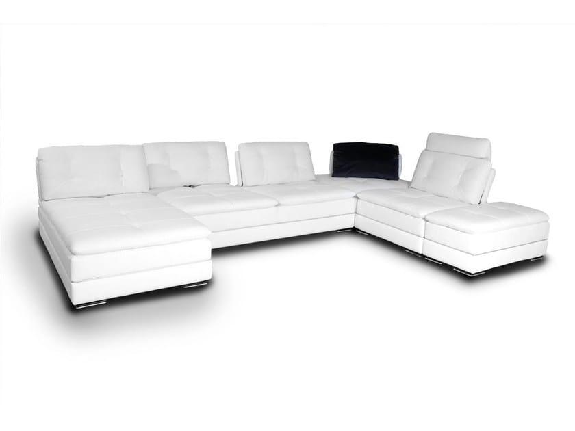 Corner modular leather sofa BAULI | Leather sofa by Nieri