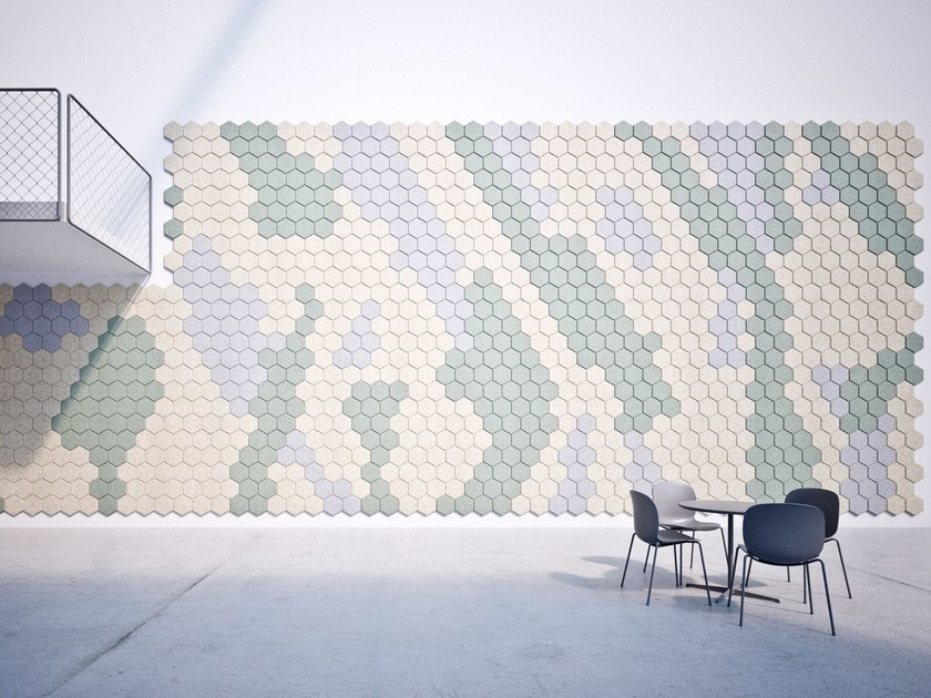 Acoustic Wood Wool Tiles BAUX ACOUSTIC TILES HEXAGON by BAUX