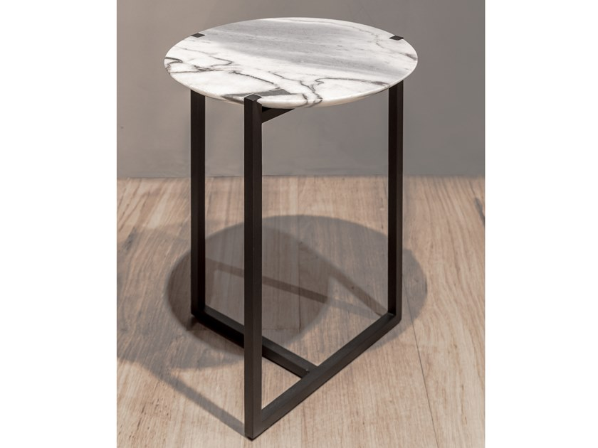 Round marble coffee table BAXTER - ICARO Ø33 Ocean storm marble by Archiproducts.com