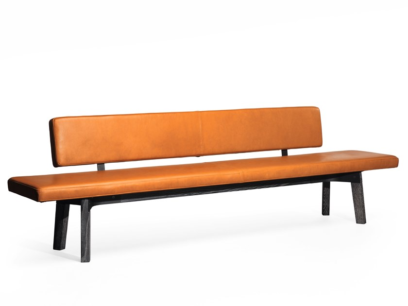 Leather bench with back BB32 | Leather bench by JANUA