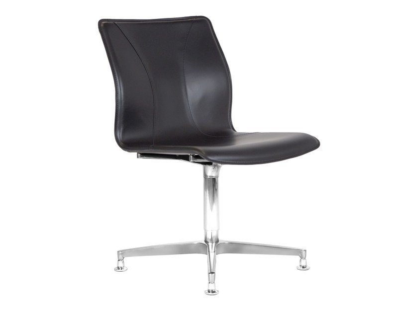 Cuoietto leather training chair with 4-spoke base BB641.1 | Chair by Kleos