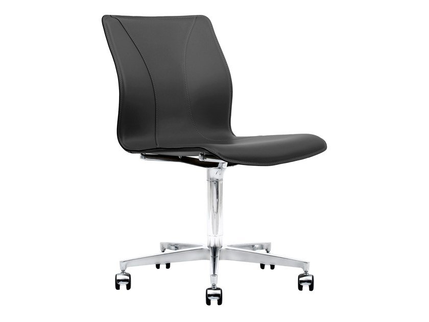 Cuoietto leather office chair with 5-Spoke base with castors BB641.13 | Office chair by Kleos