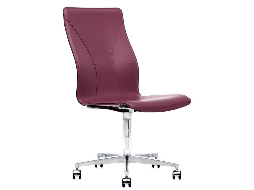 Cuoietto leather office chair with 5-Spoke base with castors BB641.14 | Office chair by Kleos