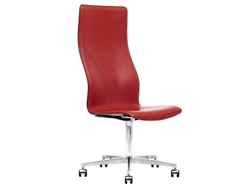 High-back Cuoietto leather executive chair with 5-spoke base BB641.15 | Executive chair by Kleos