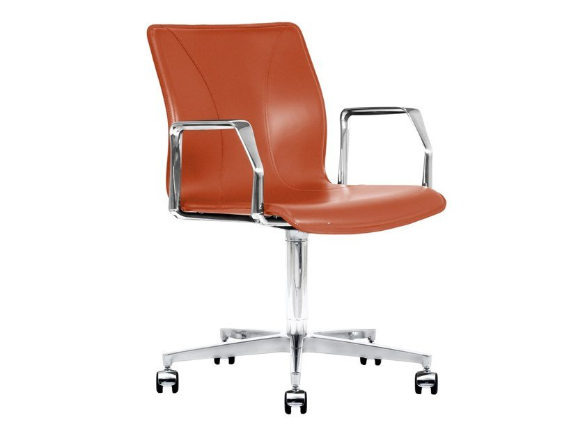 Cuoietto leather office chair with 5-Spoke base with armrests BB641.16 | Office chair by Kleos