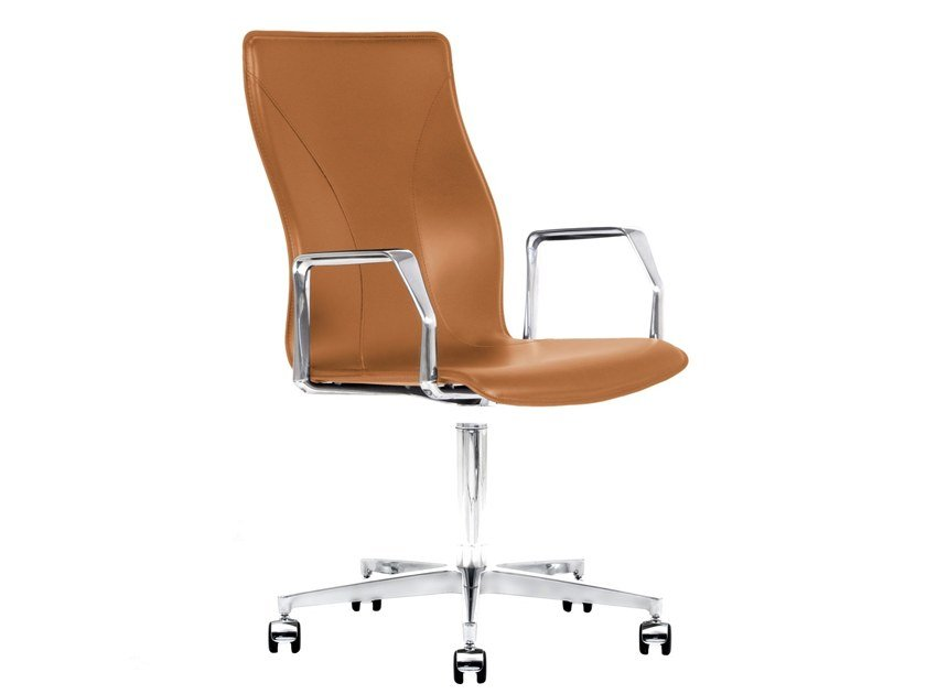 Cuoietto leather task chair with 5-Spoke base with casters BB641.17 | Chair by Kleos