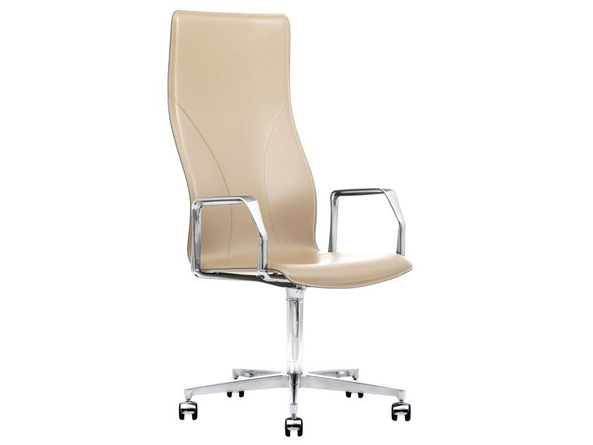 Cuoietto leather executive chair with 5-spoke base BB641.18 | Executive chair by Kleos