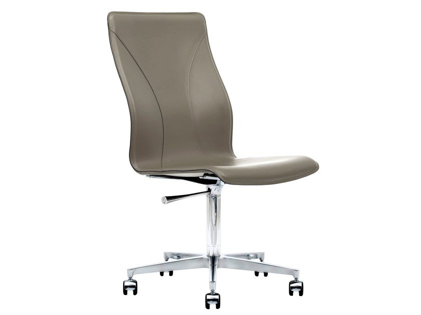 Cuoietto leather office chair with 5-Spoke base with castors BB641.20 | Office chair by Kleos