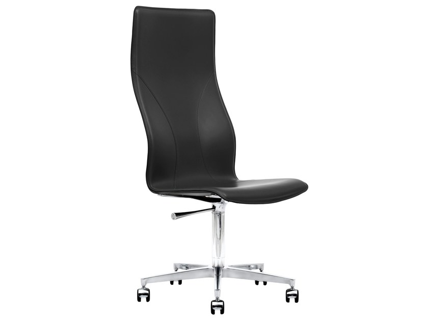 Height-adjustable Cuoietto leather executive chair with 5-spoke base BB641.21 | Executive chair by Kleos