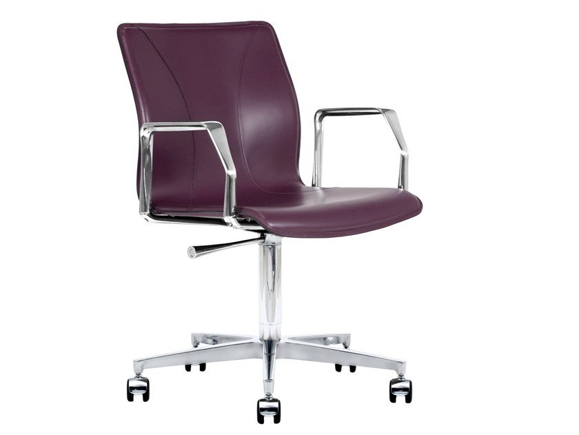 Cuoietto leather office chair with 5-Spoke base with armrests BB641.22 | Office chair by Kleos