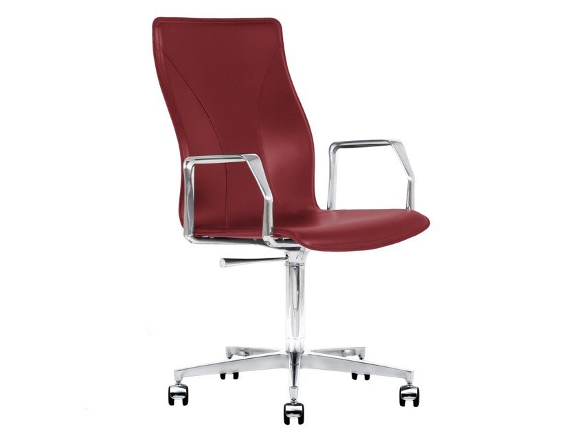 Cuoietto leather office chair with 5-Spoke base with castors BB641.23   Office chair by Kleos